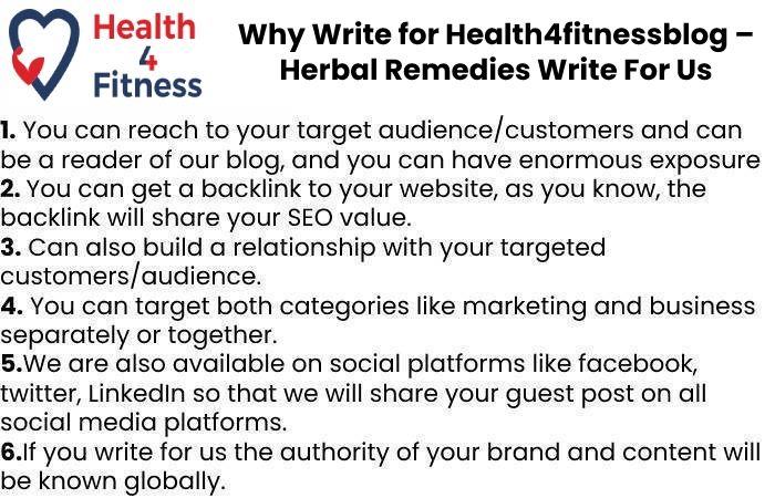 Why Write for Us Health4fitnessblog – Herbal Remedies Write For Us