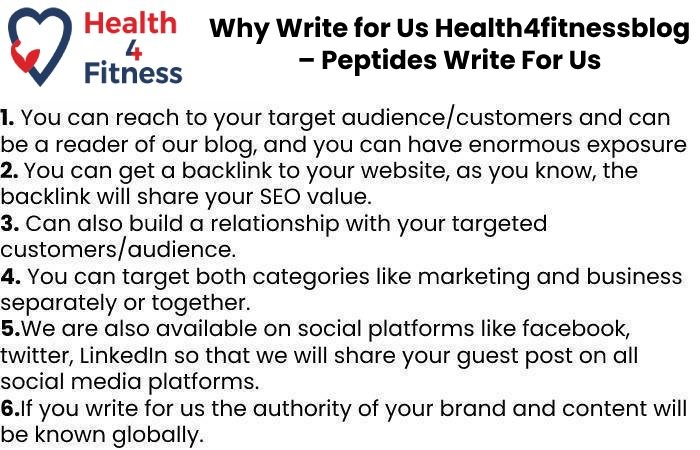 Why Write for Us Health4fitnessblog – Peptides Write For Us
